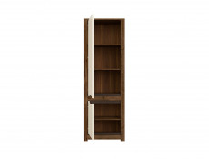 Modern Tall Storage Cabinet 2 Door Unit in Cream Gloss and Dark Oak Finish - Ruso (S407-REG2D-DARL)
