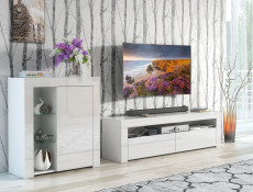 Modern White Gloss Living Room Furniture Set: Glass Display Cabinet & TV Unit Media Stand - Lily