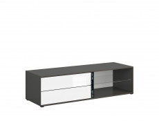TV Cabinet 143 cm Grey & White Gloss Modern Reversible Colour Strip - Graphic