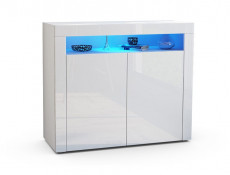 Lily - Square Sideboard Display Cabinet White Gloss with Blue LED Light