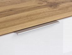 Modern Large Sideboard Dresser Cabinet Unit with Drawers White Gloss/Oak 135cm - Zele (S383-KOM2D3S-DWO/BIP-KPL01)