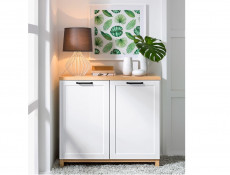 Scandinavian 2-Door Sideboard Storage Cabinet Unit 100 cm Soft Closing White/Oak - Haga