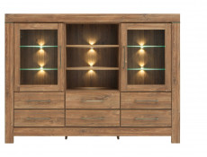 Modern 166cm Large Sideboard Dresser Glass Display Cabinet Storage Unit LED Lights Medium Oak Effect - Gent (S228-KOM2W6S/13/17-DAST-KPL01)