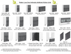 Free Standing Grey Gloss Kitchen Cabinets Cupboards Set 7 Units 240cm 2400mm - Modern Luxe