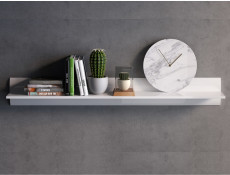 White High Gloss Modern Wall Mounted Shelf Floating Long Display Panel 150cm Bookshelf - Azteca Trio