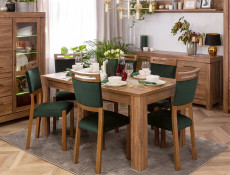 Modern Dining Room Furniture Set Oak Effect Extending Table and 4 Wooden Chairs in Green Cloth - Gent