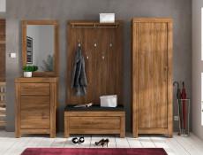Modern Tall Narrow 1 Door Slim Wardrobe Tallboy Storage Shelf Cabinet Unit Medium Oak Effect - Gent (M244-REG1D/20/7-DAST-KPL01)