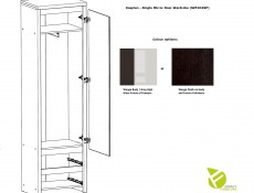 Kaspian - Single Mirror Door Wardrobe