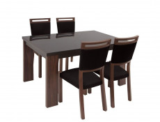 Dining Room Set Table with Black Glass Top & 4 Chairs - Alhambra
