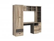 Urban Oak & Grey Home Office Study Furniture Set with Desk Tall Cabinet Wall Unit - Melton