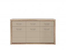 Wide Sideboard Cabinet in Beige Gloss and Oak finish - Koen 2 (KOM3D3S)