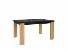 Modern Extendable Dining Table in Black Glass and Oak Wood Veneer - Arosa (S346-STO/140-DBC/CAP-KPL01)