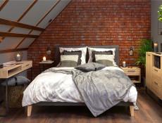 Industrial Bedroom Furniture Set 5 Piece with King Size Bed & Sideboard Metal Legs Light Oak Effect Finish - Gamla