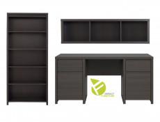 Office Study Furniture Desk Set 2 Brown - Kaspian