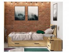 Modern Industrial Chic Single Bed Frame High Headboard Solid Wood Slats Belarus Ash Effect - Lara