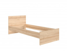 Modern Single Bed Frame Beech Effect High Headboard with Solid Wood Slats - Namek