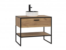 Industrial Loft Vanity Bathroom Cabinet Drawer Countertop Sink 90cm Unit Black Metal Frame Oak - Brooklin
