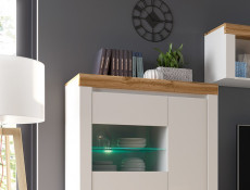 Scandinavian Glass Door Display Cabinet Storage Unit LED Lights White Gloss/Oak - Holten (S397-REG2D1W-BI/DWO/BIP-KPL01+LED)
