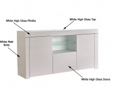 Modern White High Gloss Sideboard Glass Display Cabinet TV Unit Lowboard - Lily