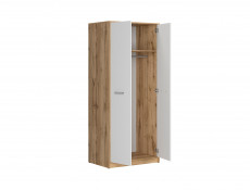 Modern Slimline Double Wardrobe 2 Door Storage Hanging Rail Unit 80cm White Matt/Oak finish - Matos