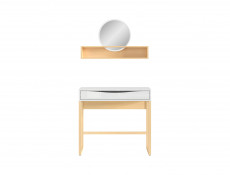 Modern Dressing Table & Mirror Shelf Extension in White Gloss/Oak - Pori