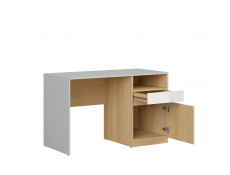 Modern White Gloss/Grey/Oak Study Desk for Home Office with Storage Drawer Soft Closing Door - Nandu
