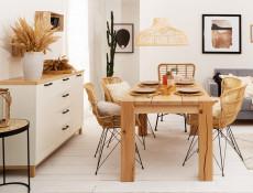 Scandinavian Large 2-Door Sideboard Storage Cabinet Unit 4 Drawers 150 cm Soft Closing White/Oak - Haga