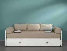 Modern Solid Sofa Bed Converts to King Size Bed in White Pine Wood Effect Finish - Indiana