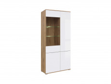 Modern White Gloss & Oak Wide Tall Glass Fronted Display Cabinet Storage 2 Door Unit with LED Light - Zele (S383-REG1W3D-DWO/BIP+LED)