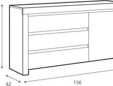 Scandinavian Living Room Storage Cabinet Unit 3-Drawer White/Oak - Holten (KOM1D3S)