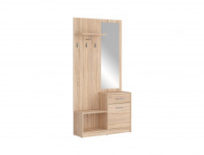 Hallway Stand Entrance Hall Cabinet Shoe Storage Set White or Sonoma Oak Finish - Nepo