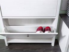 Shoe Cabinet Hallway Entrance Hall White Wash Wood Effect - Porto