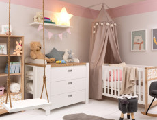 Scandinavian Double 2 Door Wardrobe with Drawer Kids Baby Nursery Furniture Rocking Horse Motif - Timon