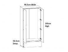 Modern Free Standing 2-Door Double White Gloss/Oak Wardrobe Drawer 90cm - Zele