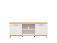 Scandinavian Media Table TV Stand Storage Cabinet Unit with Doors in White & Oak - Haga