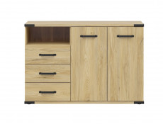 Modern Industrial Chic Large Sideboard with Drawers Storage Unit Cabinet in Belarus Ash - Lara