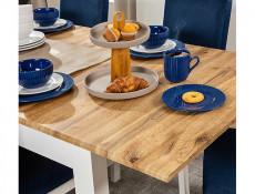 Scandinavian Slim Dining Room Extending Table 160-200cm White/Oak finish - Holten