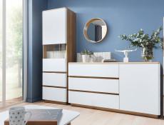 Modern Tall Narrow Glass Display Cabinet 2 Drawers in Oak and White Finish - Braga