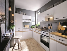 Modern Free Standing Kitchen Cabinet 600 Oven Housing Unit 60cm White Gloss/Oak - Junona (K24-DPK/60/82-BI/BIP/DCRZ-KPL01)