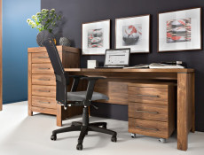 Home Office Furniture Set Desk & Mobile Drawers Pedestal Oak tone - Gent