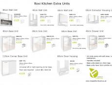 Scandinavian Style Kitchen White High Gloss Cabinets Cupboards 7 Unit Set  - Roxi (Roxi 7UnitSet)