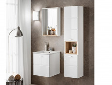 Modern Wall Mounted White Gloss Vanity Unit Bathroom Cabinet with Sink 400mm 40cm - Finka