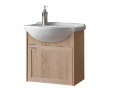 Modern Wall Mounted Bathroom Vanity with Sink Cabinet Storage Unit Oak - Piano