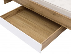Modern Single Bed Frame Headboard Slats Underbed Storage Drawer White Gloss/Oak - Zele