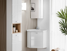 Modern Tall Wall Mounted Bathroom Cabinet Unit Wood Effect Sonoma White Gloss/White Mat - Finka (FINKA_800 _WHITE)