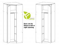 Urban Free Standing Reversible Single 1 Door Corner Wardrobe Unit Oak Effect and Grey Finish - Malcolm