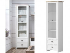 Tall Narrow Glass Fronted Display Cabinet 1 Door 2 Drawers Unit Oak / White Finish - Cannet (S351-REG1W2S-BI/DAMO/BI)