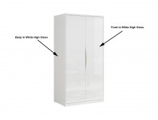 Modern 2-Door Double Wardrobe White Gloss Oak finish Freestanding - Pori