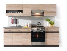 Modern Sonoma Oak/Wenge Kitchen Cabinets Cupboards Set of 7 Units with Franke Sink - Junona (K22-JUNONA_MODUL/240-WE/DSO/DSO-KPL01+SINK)