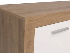 Modern 2 Door 4 Drawer Wide Sideboard Dresser Cabinet Storage Unit Oak Effect and White Gloss - Balder